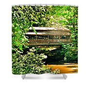 Covered Bridge At Lanterman's Mill Shower Curtain