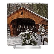Covered Bridge At Olmsted Falls-winter-2 Shower Curtain