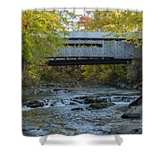 Covered Bridge Over Brown River Shower Curtain