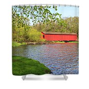 Covered Bridge Over The Lake Shower Curtain