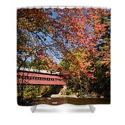 Covered Bridge Over The Swift River In Conway Shower Curtain