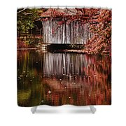 Covered Bridge Reflection Shower Curtain