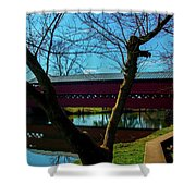 Covered Bridge Vivid Afternoon Shower Curtain