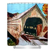 Covered Bridge Woodstock Vt Shower Curtain