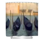 Covered Gondolas At Venice Shower Curtain