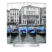 Covered Gondolas In Blue Shower Curtain