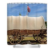 Covered Wagon At Fort Bluff Shower Curtain