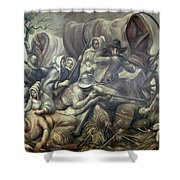 Covered Wagon Attacked By Indians Shower Curtain