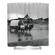 Covered Wagon River Ford And Cable Ferry 1903 Shower Curtain