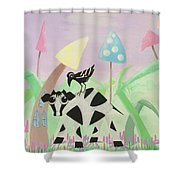 Cow And Crow In The Land Of Mushrooms Shower Curtain