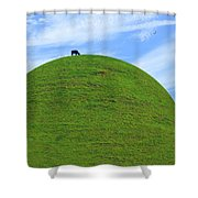 Cow Eating On Round Top Hill Shower Curtain
