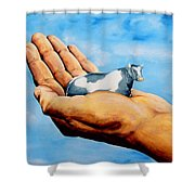 Cow In Hand Shower Curtain