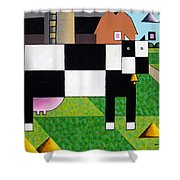 Cow Squared With Barn Left Shower Curtain