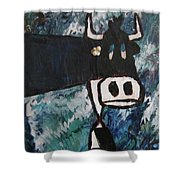 Cow With A Pearl Earring Shower Curtain