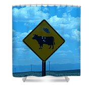Cow With Flying Saucer Shower Curtain