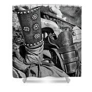 Cowboy And Six Shooter Bw Shower Curtain