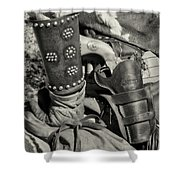 Cowboy And Six Shooter Bw Sepia Shower Curtain
