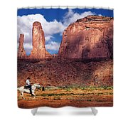 Cowboy And Three Sisters Shower Curtain