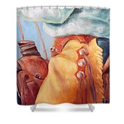 Cowboy Armor Western Cowboy Oil Painting Shower Curtain