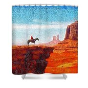 Cowboy At Monument Valley In Utah - Da Shower Curtain
