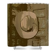 Cowboy Hangs It Up Square Format 1 Shower Curtain