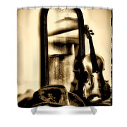 Cowboy Hat And Fiddle Shower Curtain