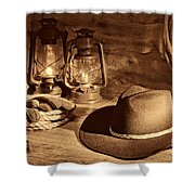 Cowboy Hat And Kerosene Lanterns Shower Curtain