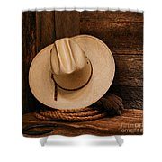 Cowboy Hat And Gear Shower Curtain