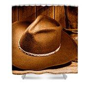 Cowboy Hat - Sepia Shower Curtain