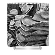 Cowboy Hats Black And White Shower Curtain