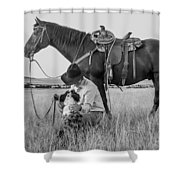 Cowboy, His Horse And Dog Shower Curtain