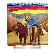 Cowboy Kisses Cowgirl Shower Curtain