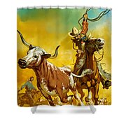 Cowboy Lassoing Cattle  Shower Curtain by Angus McBride