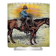 Cowboy N Sunset Shower Curtain