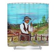 Cowboy On The Farm Shower Curtain