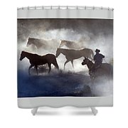 Cowboy Rounding Up Four Horses Shower Curtain