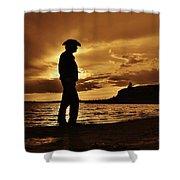 Cowboy Silhouette At Wilson Lake In Kansas Shower Curtain