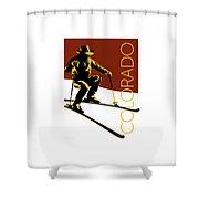 Colorado Cowboy Skier Shower Curtain by Sam Brennan