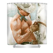 Cowboy Watercolor Shower Curtain