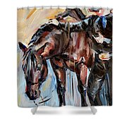 Cowboy With His Horse Shower Curtain