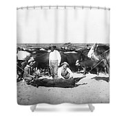 Cowboys Branding Cattle C. 1900 Shower Curtain