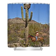 Cowgirl And The Crested Saguaro Shower Curtain