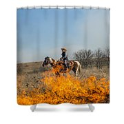 Cowgirl Watching Over Burn Shower Curtain