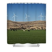 Cows And Windmills Shower Curtain