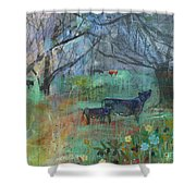 Cows In The Olive Grove Shower Curtain