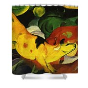 Cows Yellow Red Green 1912 Shower Curtain