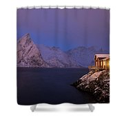Cozy Cabin By The Fjord Shower Curtain