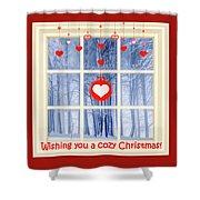 Cozy Christmas Card Shower Curtain