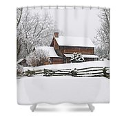 Cozy Snow Cabin Shower Curtain
