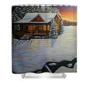Cozy Winter Cabin  Shower Curtain